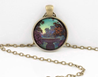 Art Deco Maxfield Parrish  Art Nouveau Pendant Necklace Inspiration Jewelry or Key Ring