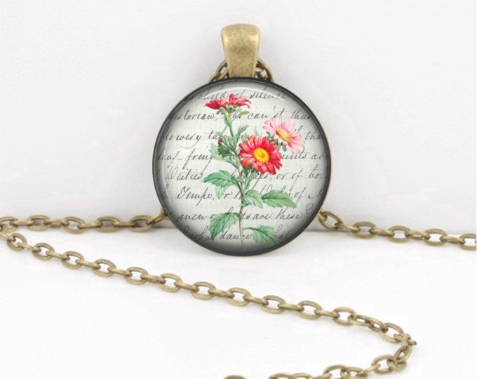 Birth Month Flower Necklace - September - Aster - Gift Pendant Necklace Jewelry or Key Ring