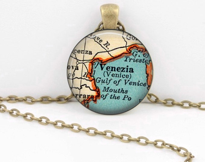 Venice Italy Venezia Vintage 1938 Map Geography Gift  Pendant Necklace or Key Ring