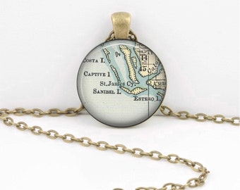 Sanibel Island, Captiva, Florida Map Pendant Necklace - Key Ring - Keepsake - Gift