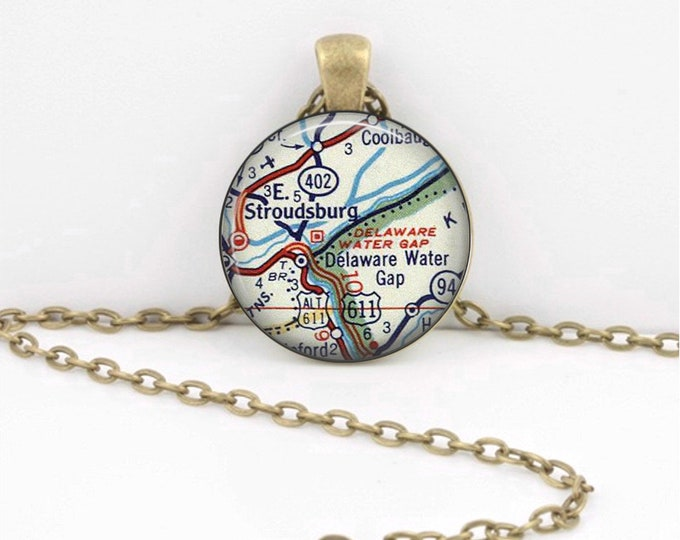 Delaware Water Gap Pennsylvania New Jersey Vintage Map Geography Gift  Pendant Necklace or Key Ring