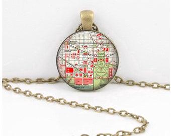 George Washington University Washington DC Vintage Map Keepsake Vintage Map Geography Gift  Pendant Necklace or Key Ring