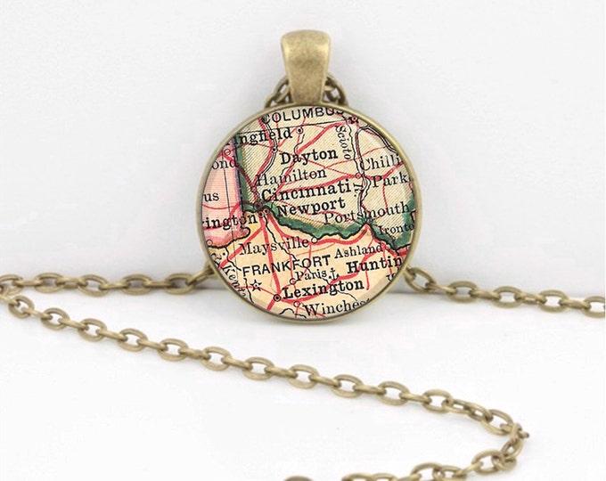 Vintage Map Ohio Cincinatti Dayton Travel Gift Pendant Necklace or Key Ring