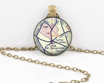 Tufts University Boston Map Geography Gift  Pendant Necklace or Key Ring