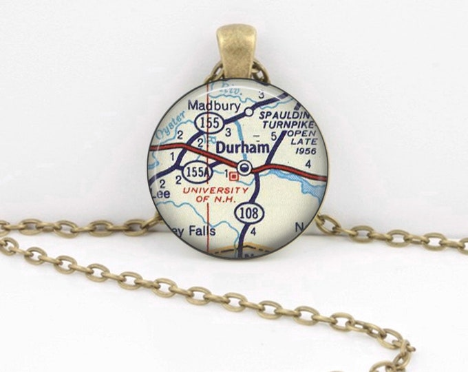 University of New Hampshire Durham NH Vintage Map Geography Gift  Pendant Necklace or Key Ring