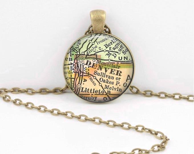 Denver Colorado CO Vintage Map Keepsake Vintage Map Geography Gift  Pendant Necklace or Key Ring