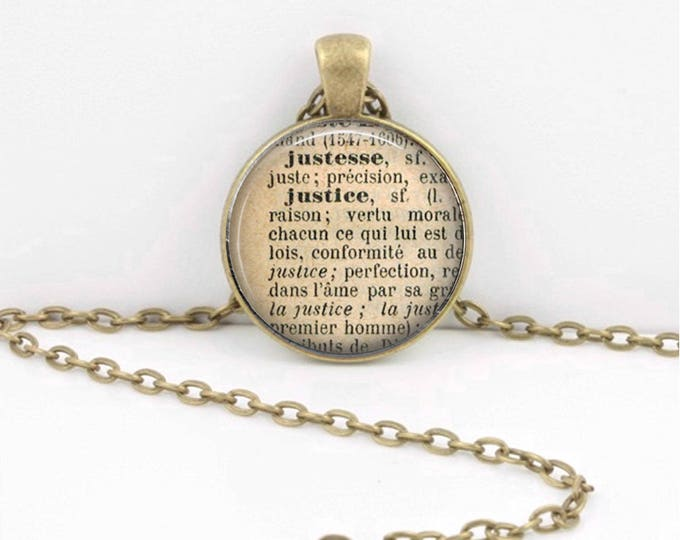 Justice Law Definition French Dictionary Word Pendant Necklace or Key Ring