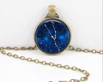Taurus Pendant Necklace Jewelry, Galaxy Astrology Zodiac Constellation, Universe Star Sign, Zodiac Jewelry, Horoscope Bull Necklace