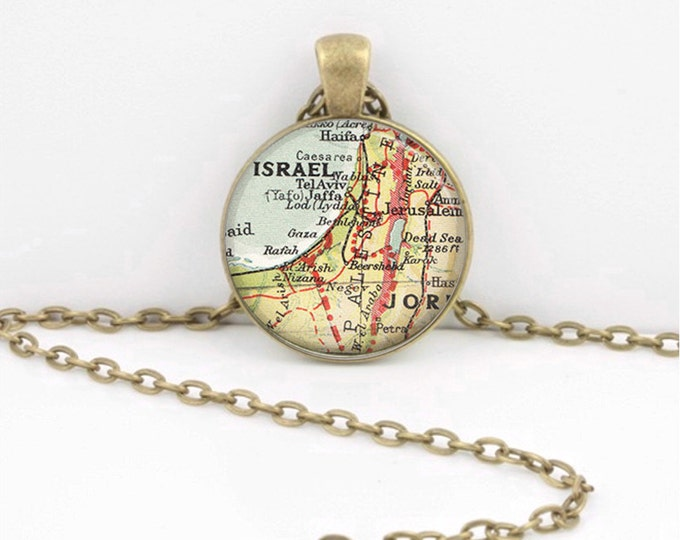 Israel Middle East Vintage Map Necklace Cartography Pendant Map Geographer Gift Jewelry Travelers Gift Map Lovers