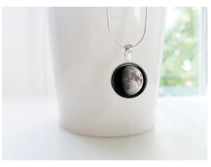 Custom moon phase necklace, custom birth moon, moon necklace, sterling silver jewelry, personalized gift, custom jewelry