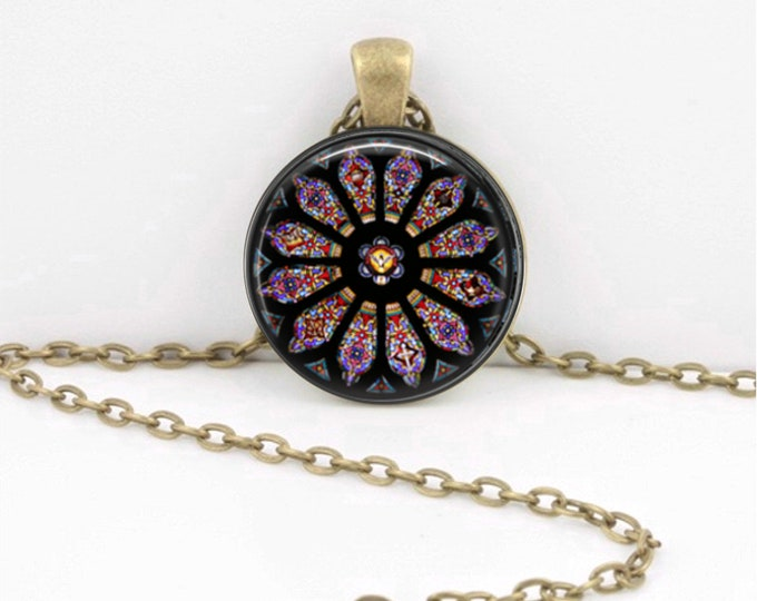 Stained Glass Rose Window Trinity Church Potsdam New York Gothic Cathedral Pendant Necklace Jewelry or Key Ring