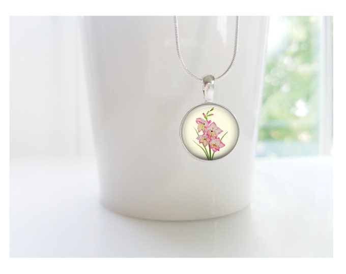 August Gladiolus Flower of the Month Pendant, Sterling Silver Birthday Necklace, Bridesmaid Gift, Birth Month Flower Gift