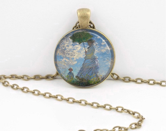 Monet Woman with Parasol Impressionism Art Glass Pendant Necklace Inspiration Jewelry or Key Ring