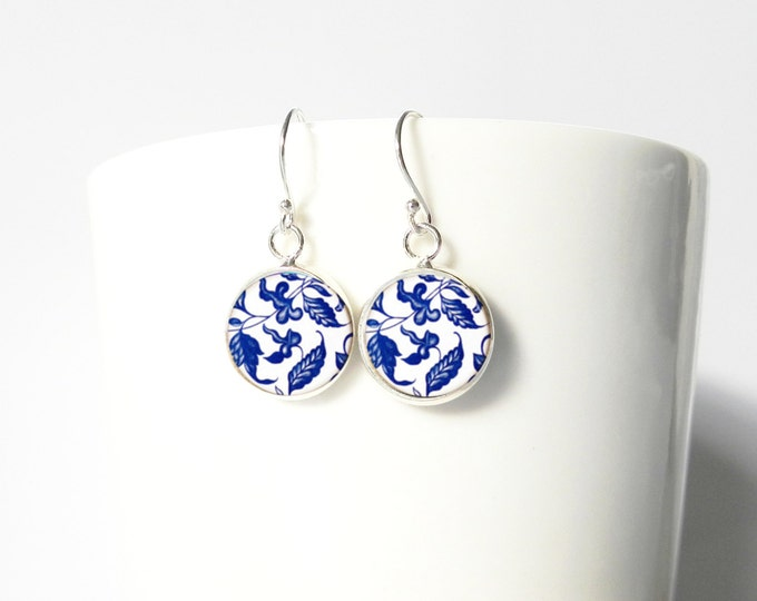 Blue and White Porcelain Ming China Pattern Sterling Silver Earrings Gift  Silver Jewelry