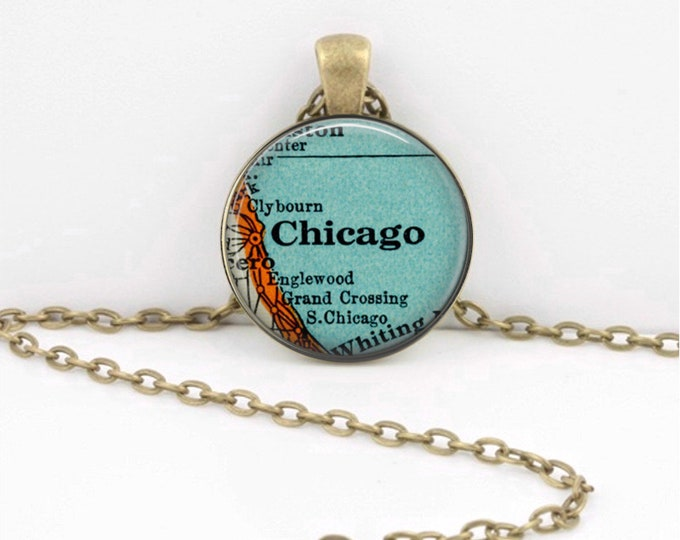 Vintage Map Chicago Illinois Chicagoland Antique Map Geography Gift  Pendant Necklace or Key Ring