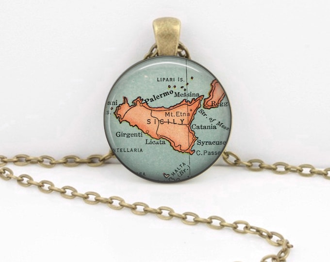 Sicily Italy Mediterranean Gift Vintage Map Pendant Necklace or Key Ring