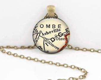 Asheville North Carolina Biltmore Map Gift  Vintage Map Pendant Necklace or Key Ring
