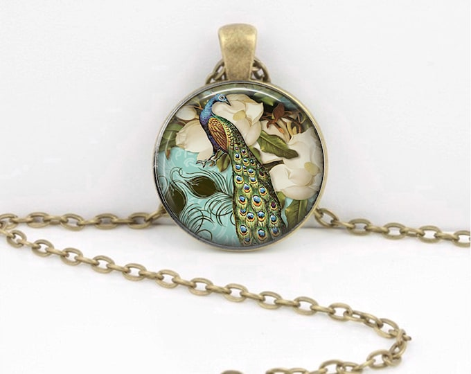 Pretty Peacock Art Pendant Necklace Inspiration Jewelry or Key Ring