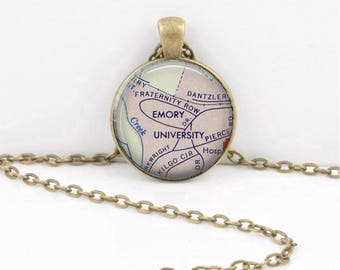 Emory University Map Geography Gift Graduation Gift New Grad Pendant Necklace or Key Ring