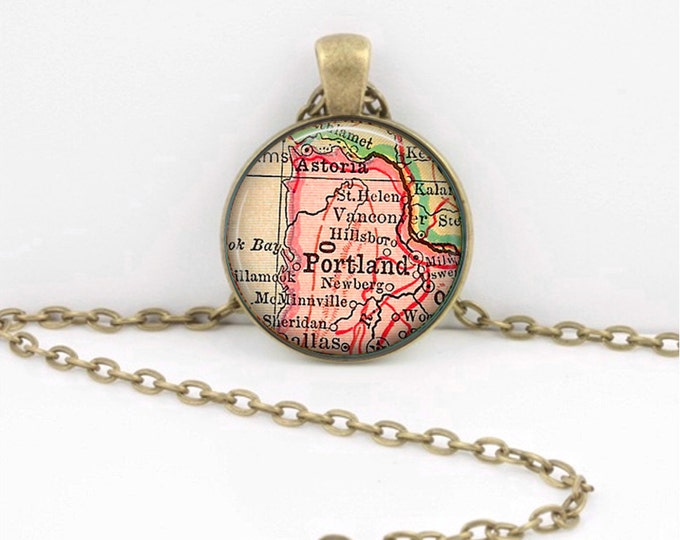 Vintage Map Portland Oregon OR PNW Geography Map Pendant Necklace or Key Ring