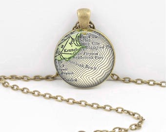 Kennebunkport Maine VintageMap Keepsake Vintage Map Geography Gift  Pendant Necklace or Key Ring