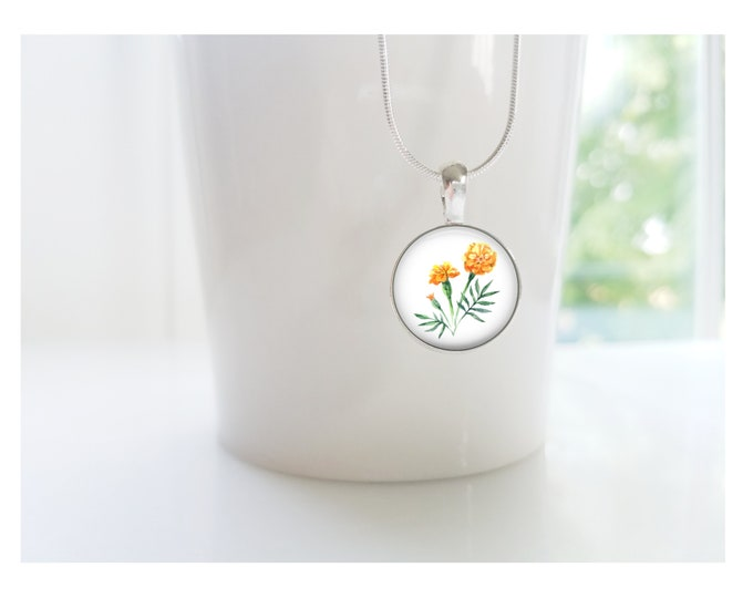 October Marigold Birth Flower of the Month Pendant, Sterling Silver Birthday Necklace, Bridesmaid Gift, Birth Month Flower Gift