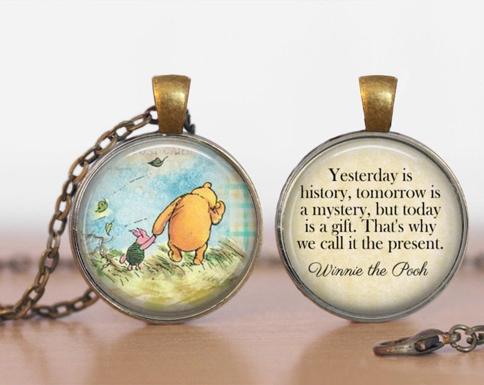 Pooh Yesterday is History Winnie the Pooh Double Sided  Pendant Double Pendant Two Sided Necklace