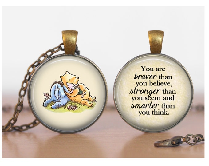 Pooh Piglet and Eeyore Braver Stronger Winnie the Pooh Double Sided Pendant Double Pendant Two Sided Necklace