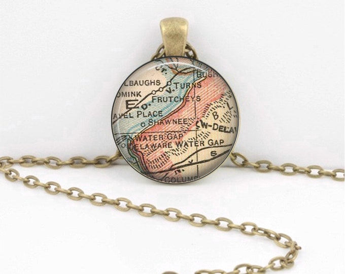 Shawnee Delaware Water Gap Pennsylvania New Jersey Vintage Map Geography Gift  Pendant Necklace or Key Ring