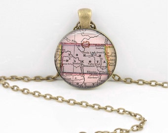 North Dakota Vintage Map Geography Gift  Pendant Necklace or Key Ring