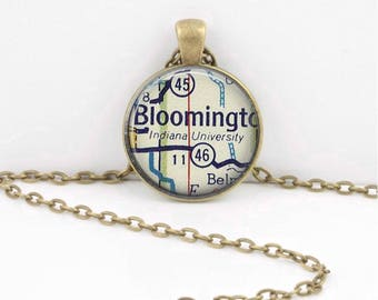 Indiana  University Bloomington IN Vintage Map Geography Gift  Pendant Necklace or Key Ring