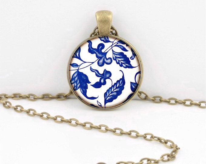 Blue and White Porcelain Ming China Glass Pendant Necklace or Key Ring