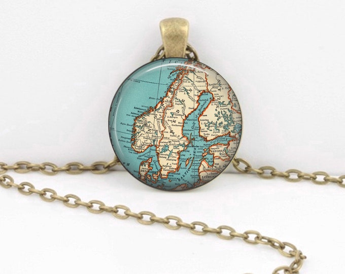 Scandinavia Sweden Norway Denmark Vintage 1938 Map Geography Gift  Pendant Necklace or Key Ring