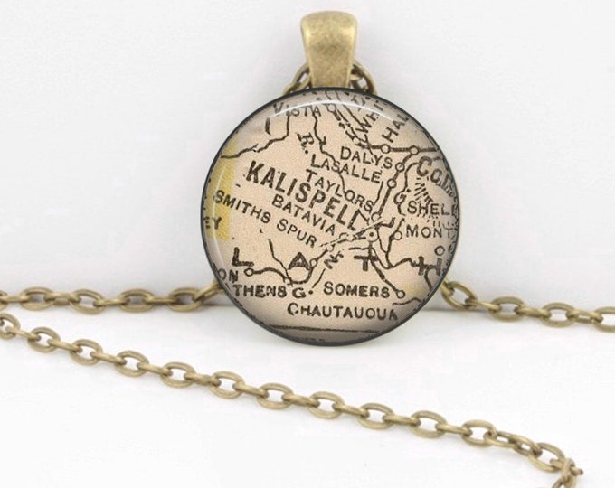 Kalispell Montana Vintage 1927 Map Geography Gift  Pendant Necklace or Key Ring
