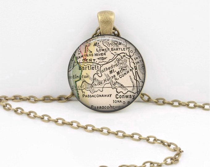 New Hampshire White Mountains Vintage Map Geography Gift  Pendant Necklace or Key Ring