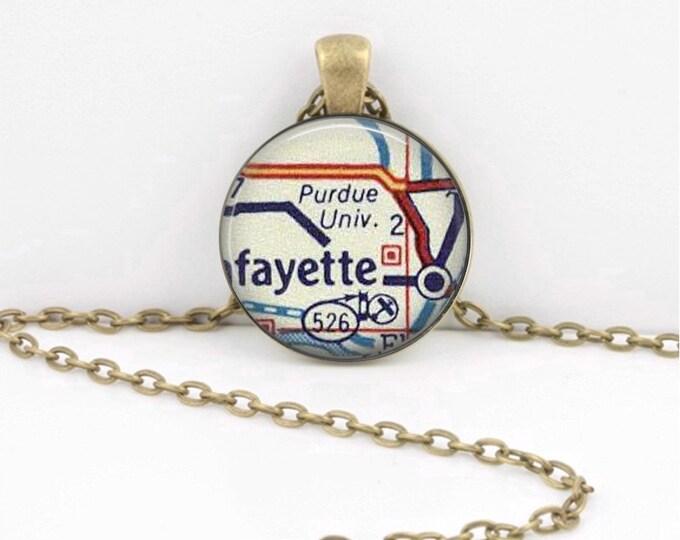 Purdue University Indiana Grad Alumni Gift  Vintage Map Pendant Necklace or Key Ring