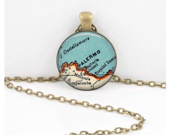 Palermo Sicily Italy Vintage Map Geography Gift Pendant Necklace or Key Ring