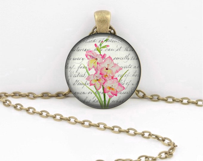 Birth Month Flower Necklace - August - Gladiolus - Gift Pendant Necklace Jewelry or Key Ring