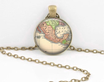 Mexico Vintage Map Geography Gift  Pendant Necklace or Key Ring