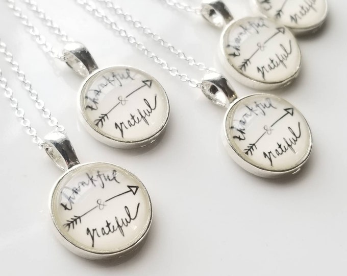Thankful and Grateful Sterling Silver Small Necklace Inspiration Encouragement Gift Jewelry