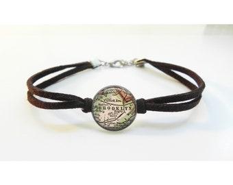 Brooklyn New York NYC Map Bracelet - Vintage Map - Leather Bracelet -  Map Jewelry