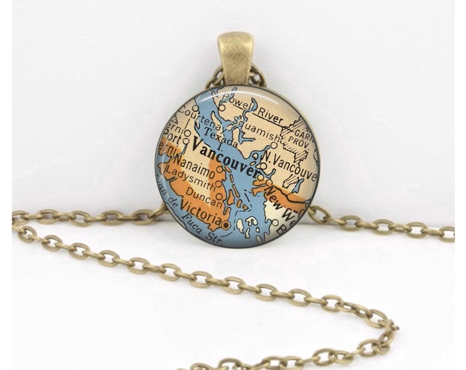 Vancouver BC British Columbia Canada Vintage 1950s Map Geography Gift  Pendant Necklace or Key Ring