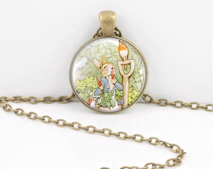 Peter Rabbit Beatrix Potter Children's Illustration Book Story Pendant Necklace or Key Ring