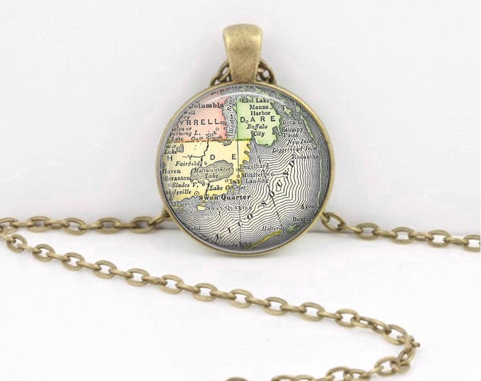 Outer Banks Hatteras Avon North Carolina Pamlico Sound Vintage Map Geography Gift  Pendant Necklace or Key Ring