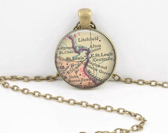 St. Louis Missouri Vintage Map Geography Gift  Pendant Necklace or Key Ring