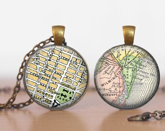 RESERVED Two Maps Double-Sided Map Custom Pendant Double Pendant Two Sided Necklace