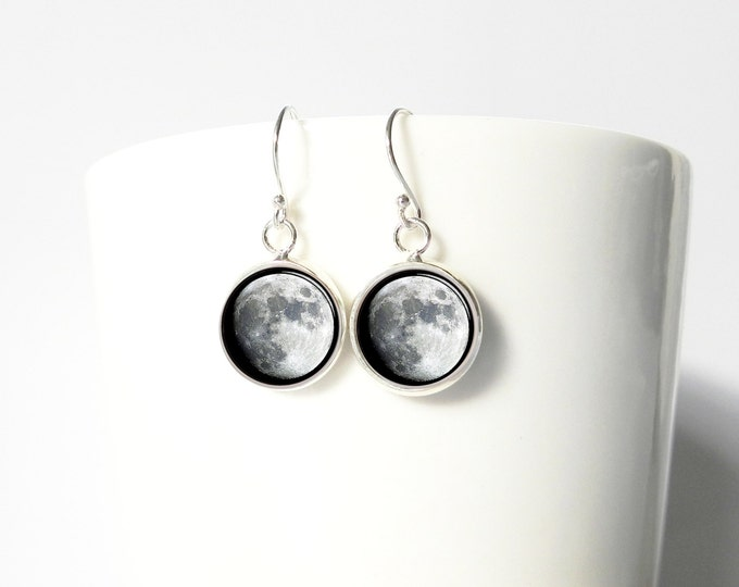Moon Full Moons Space Earrings Pendant Earrings Sterling Silver Dangle Jewelry