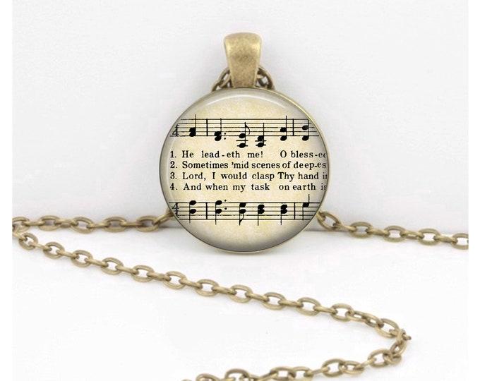 He Leadeth Hymn - Fellowship Gift - Pendant Key Ring Christian Gift Idea  - Christian Music  - Religious Gift
