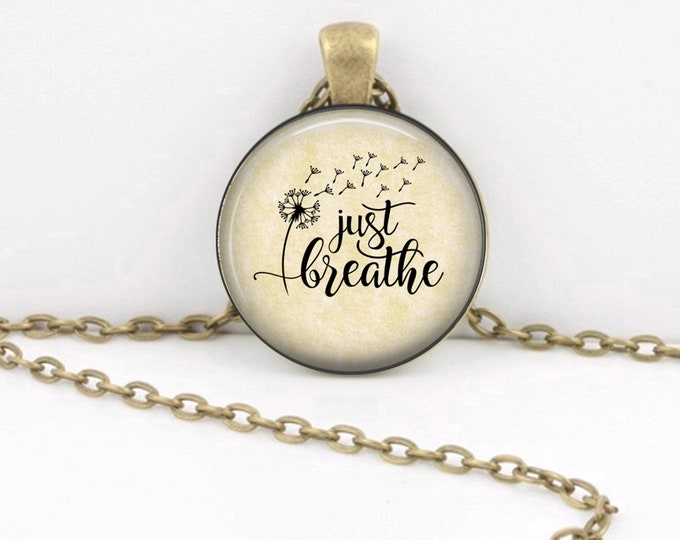 Breathe Necklace - Just Breathe - Encouragement Gift for Her - Thinking of You Gift - Small Pendant Necklace - Long Necklace