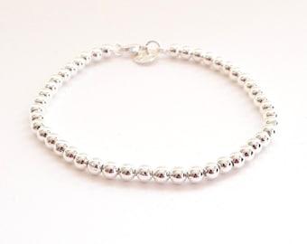 Sterling Silver Bead Bracelet - 4mm - Everyday Wear - Sterling Ball Bracelet - Simple Sterling Bracelet, Sterling Silver Jewelry